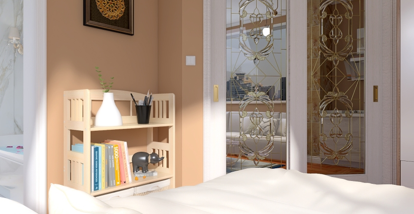 Flat chic and Cozy Interior Design Render