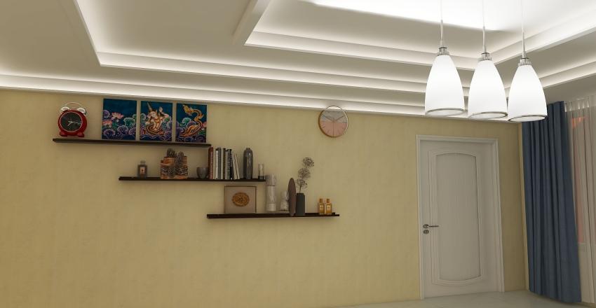 Blue bed room Interior Design Render