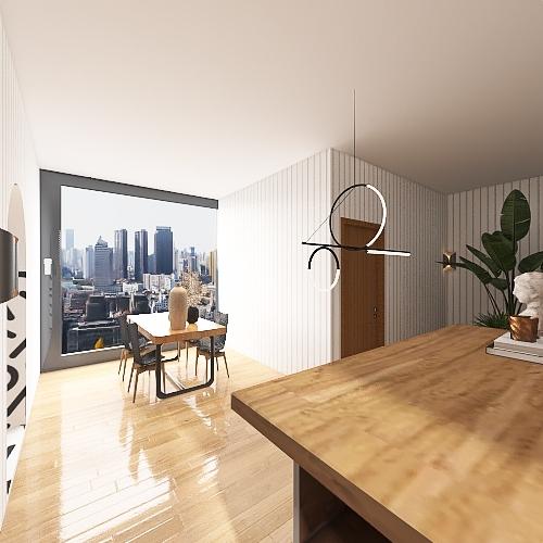 Small Scandinavian House Interior Design Render