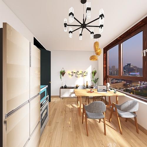 Minimalist downtown loft Interior Design Render