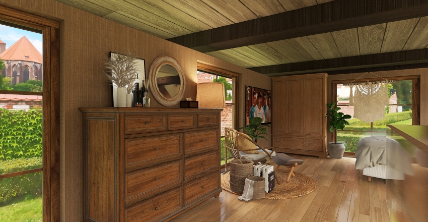 Modern Bohemian Tiny House Interior Design Render