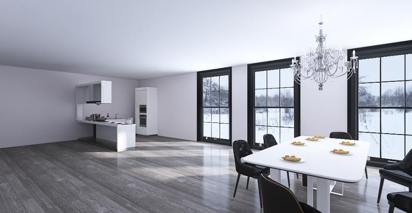 Modern Dining Room and Living Room! Interior Design Render
