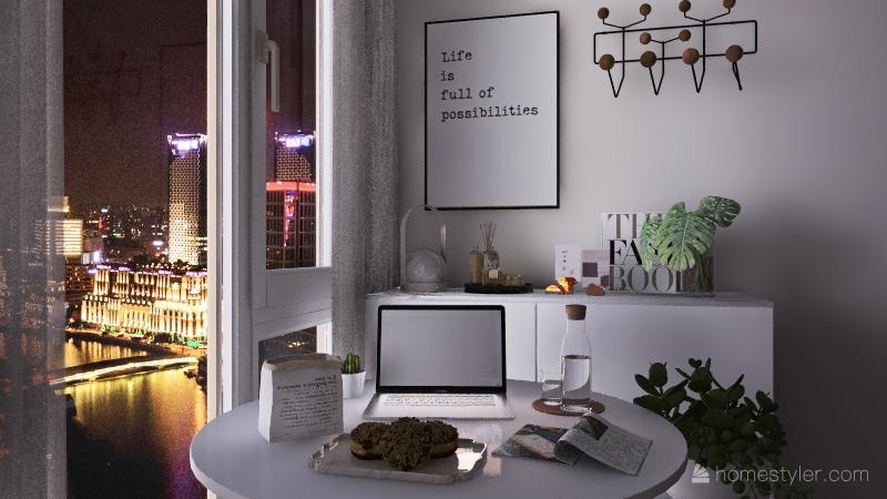 night view desk Interior Design Render