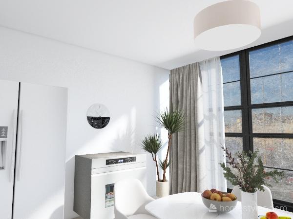 white kitchen, Interior Design Render
