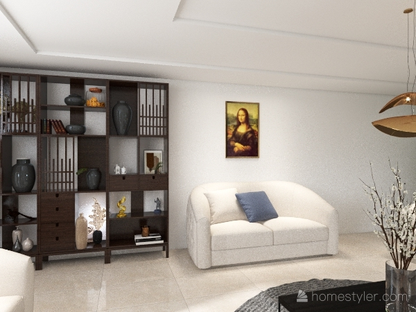 Warm living room Interior Design Render