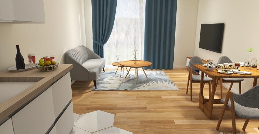 Small 1 bedroom apartment Interior Design Render