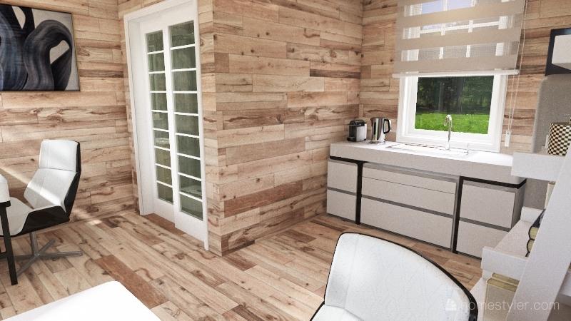 Garden Office in natural wood and white veneer! Interior Design Render