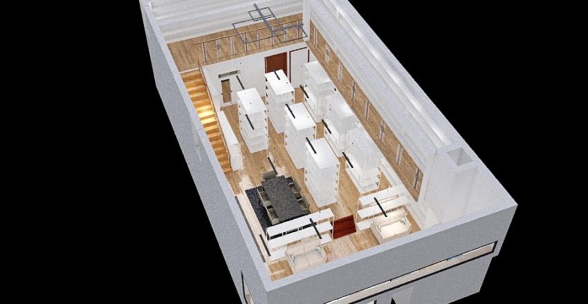 Corner Stairs - 1501 Grant - rear mezz Interior Design Render
