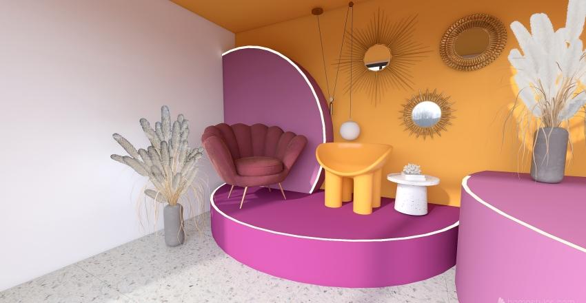 roxo e amarelo Interior Design Render
