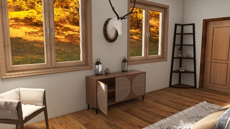 Earthy leather house Interior Design Render