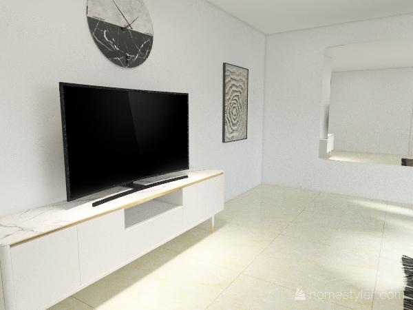White living room Interior Design Render