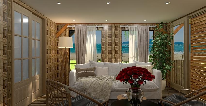 Beach Bamboo House Interior Design Render