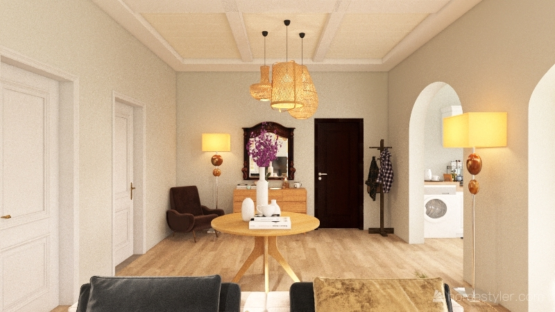 one bedroom brown and green vibe Interior Design Render