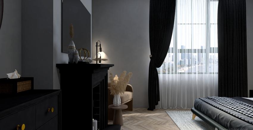 Luxury Dark Grey Apartment Interior Design Render