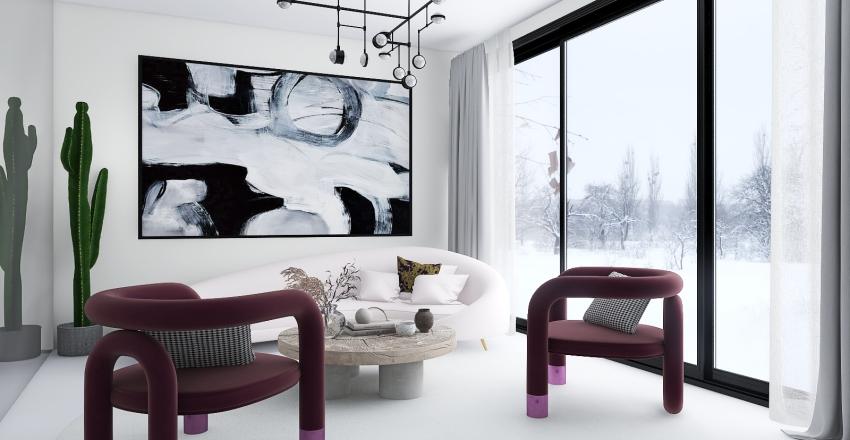 white saloon Interior Design Render