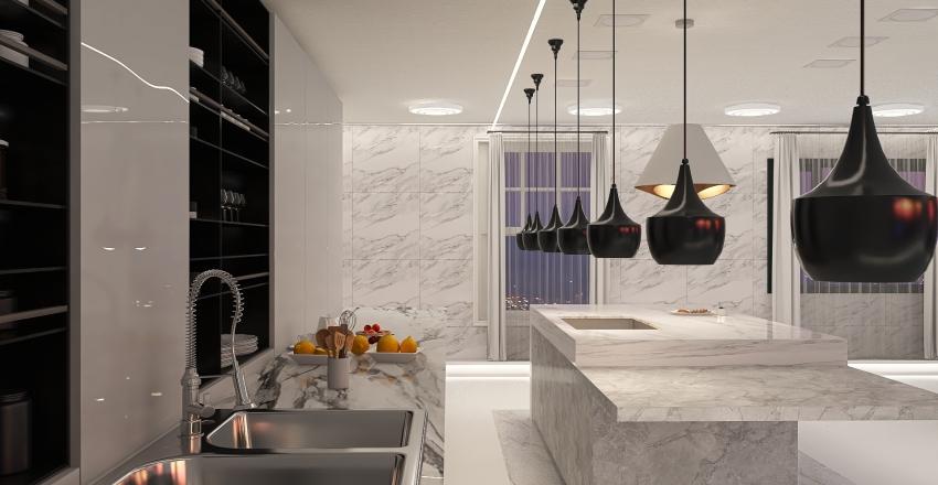 Hvidt Køkken Interior Design Render