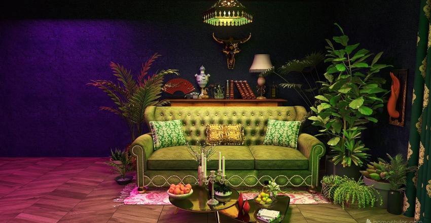 velvet green Interior Design Render