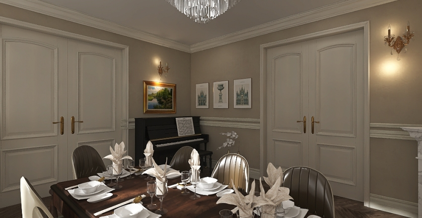 Renovacija dnevnog boravka + blagovaonice by K. Interior Design Render