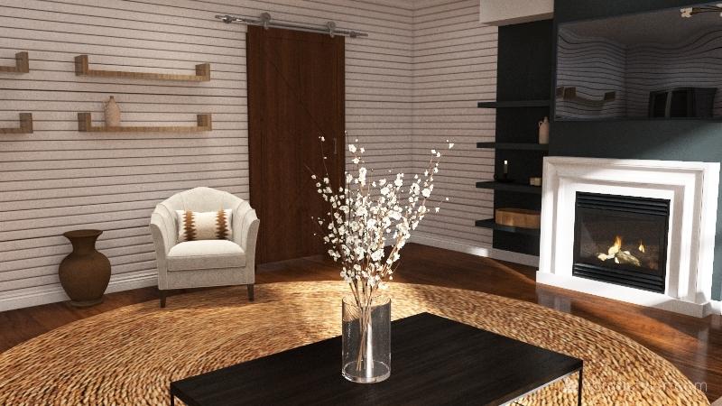 modern farmhouse 1st floor Interior Design Render