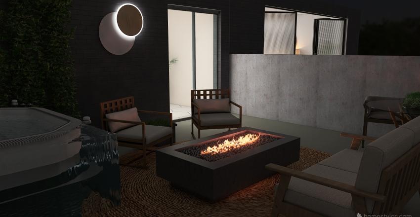modern bohemian mountain retreat Interior Design Render