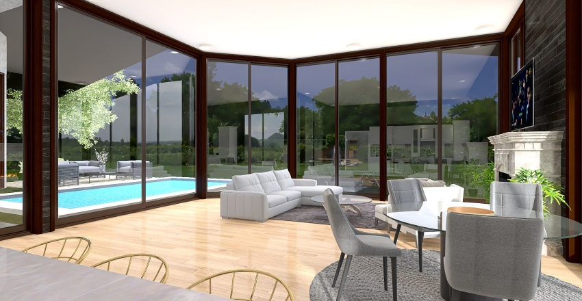 Natural Light Filled Contemporary Small House Interior Design Render