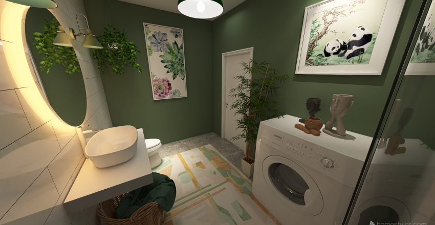 Boho flat Interior Design Render