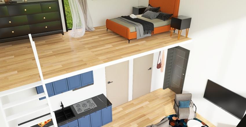 small village house with mezzanine Interior Design Render