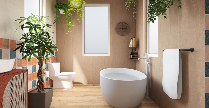 bohemian plant bathroom  Interior Design Render