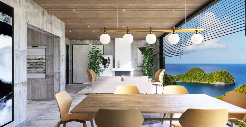 Earthy tone apartment Interior Design Render