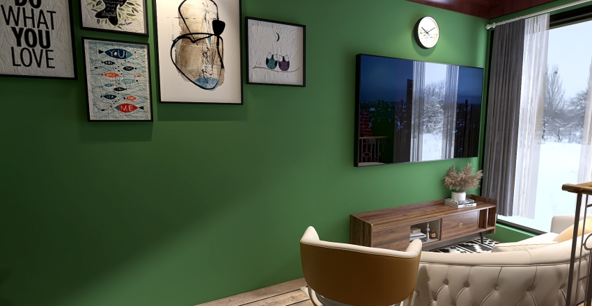 Winter Linving Room Interior Design Render