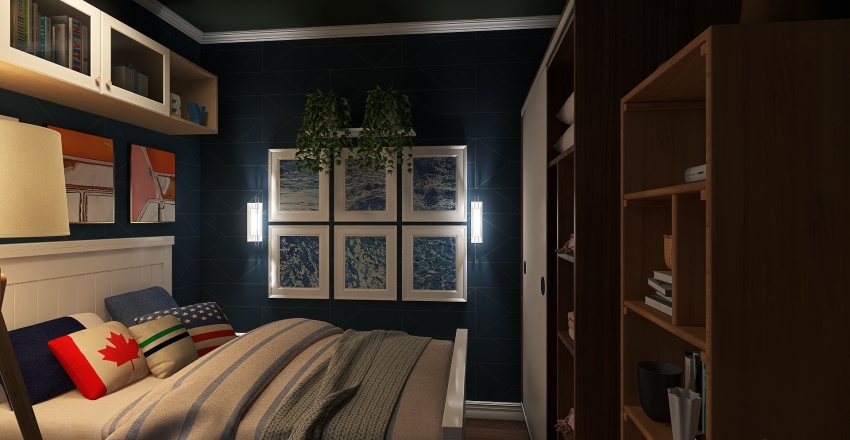 Small Octgonal House Interior Design Render