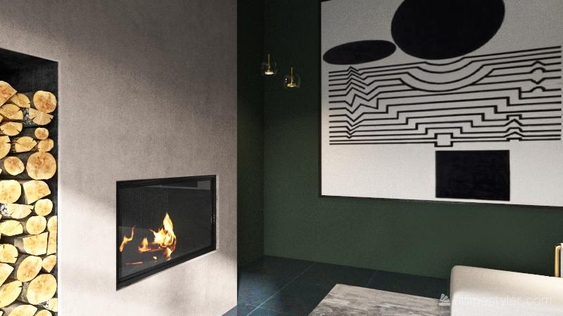 Modern Fireplace Room Interior Design Render