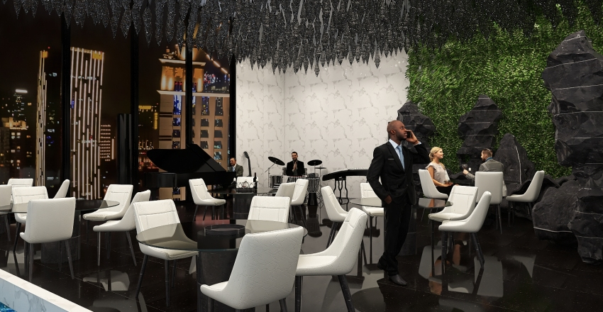 Restaurant in the top of the city Interior Design Render
