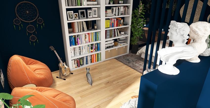 Autumn teenage bedroom Interior Design Render