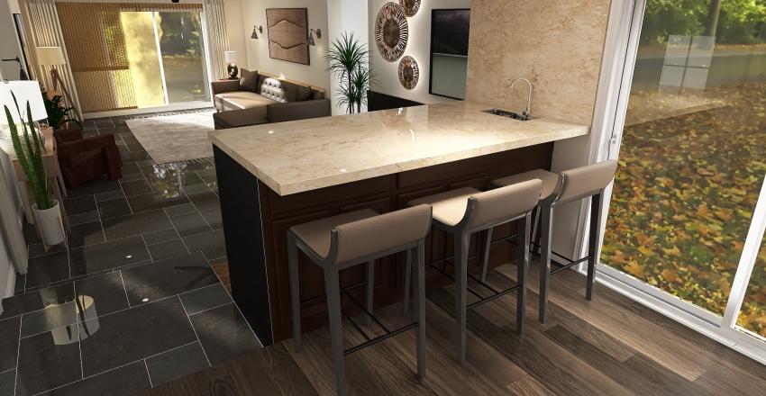 Masculine Modern Den & Kitchen Remodel Interior Design Render