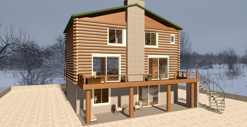 Three Story Log Cabin Interior Design Render