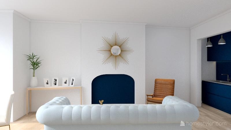 baby blue and white chic Interior Design Render