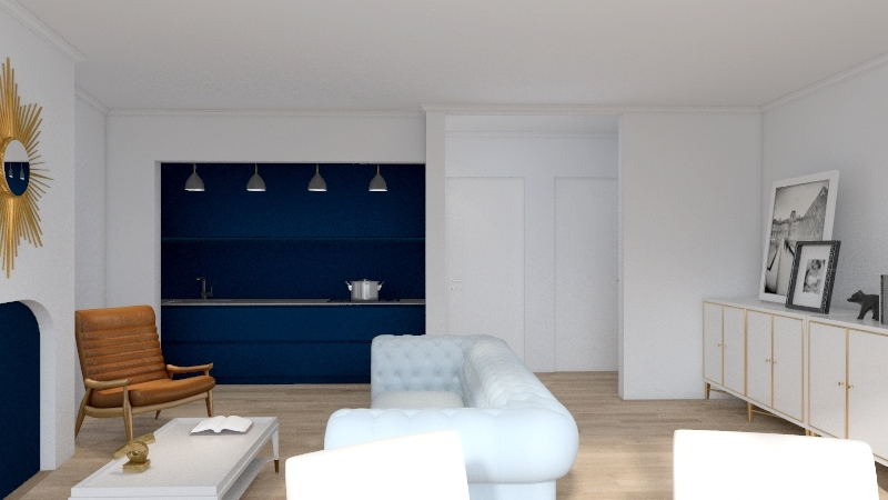 baby blue and white chic Interior Design Render