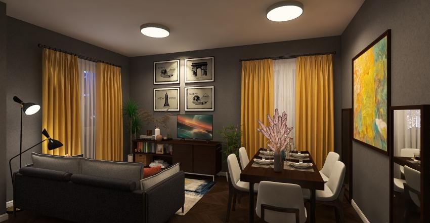 A Little Family Apartment Interior Design Render