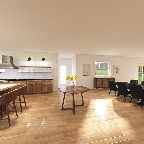 Stover Living/kitchen/dining large island Interior Design Render