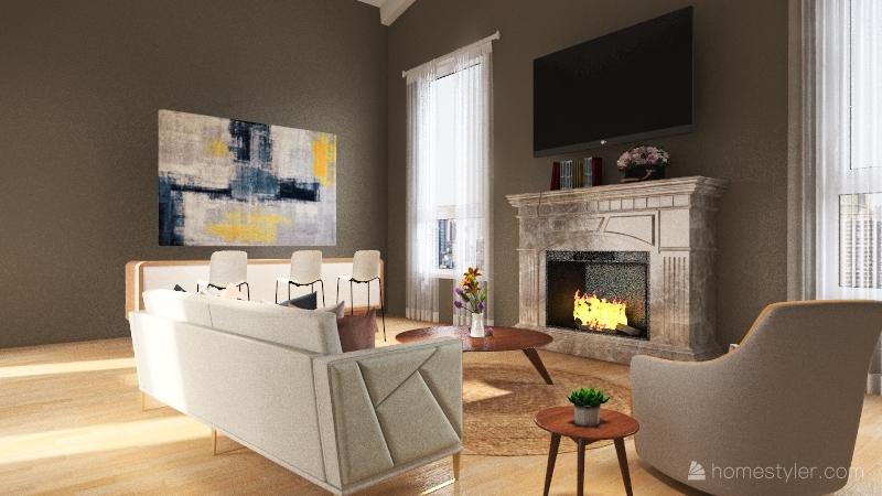 Modern nature house Interior Design Render