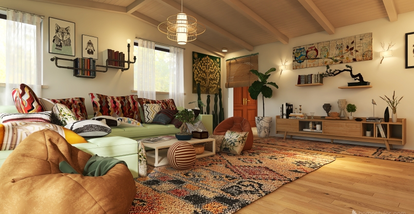 Bohemian Style 30 sqm. living room Interior Design Render