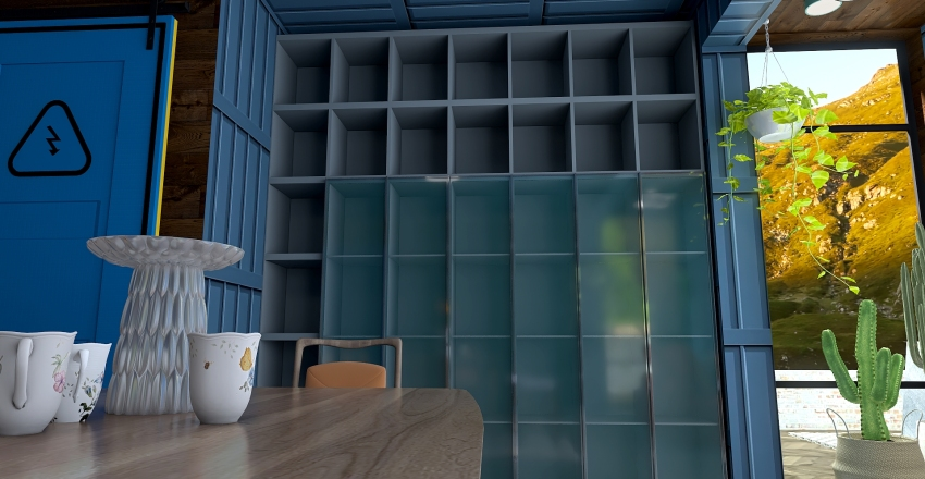 Container house in the mountains. Interior Design Render