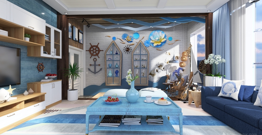 Coastal-themed inspired living room Interior Design Render