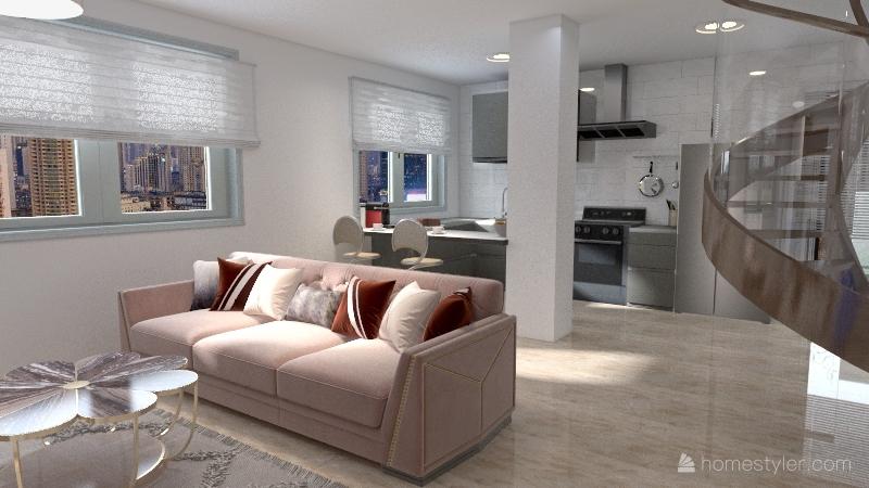 vivienda en dos plantas con jardín Interior Design Render