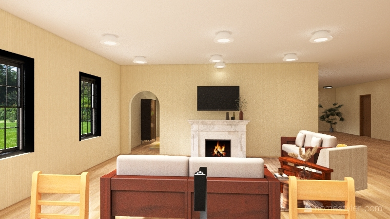 modern farm house Interior Design Render