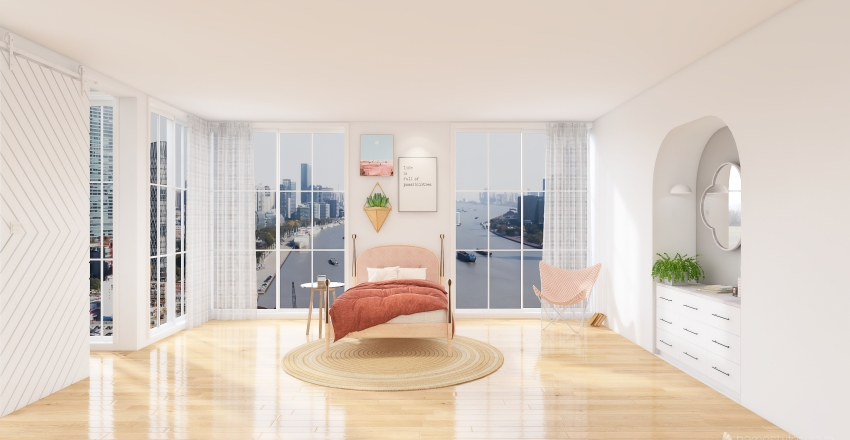 girls bedroom Interior Design Render