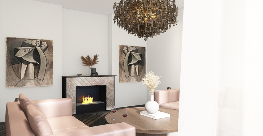 French living room Interior Design Render