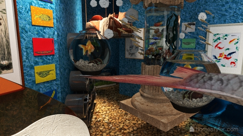 fish house and cozy nook Interior Design Render