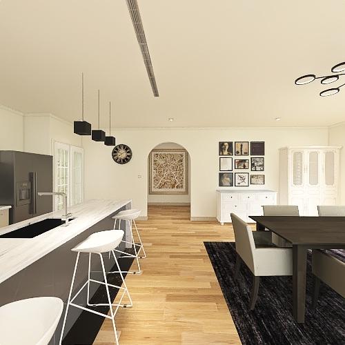 3室3卫2厅1车库单层别墅 Interior Design Render